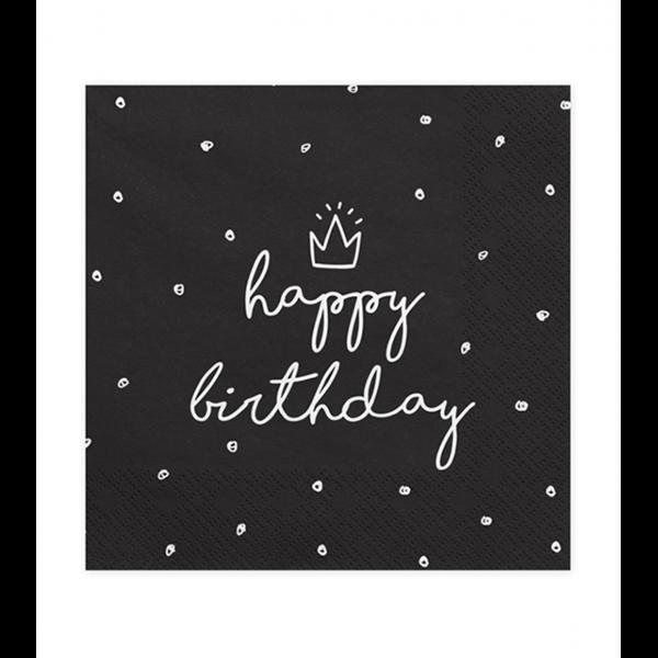 20 Servietten Trend - 33cm - Happy Birthday Black