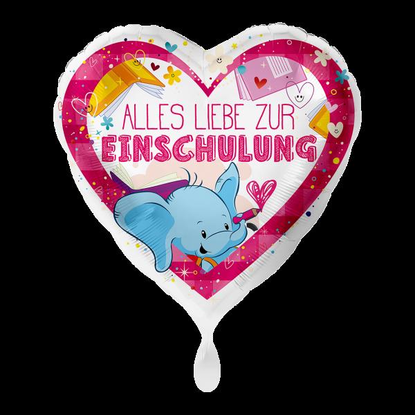 1 Ballon - Alles Liebe zur Einschulung Pink