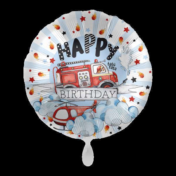1 Ballon -  Happy Fire Engine - Birthday