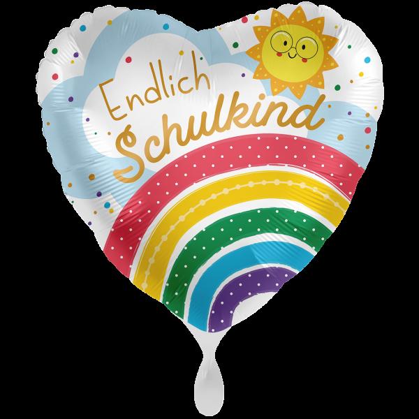 1 Ballon XXL - Endlich Schulkind Regenbogen