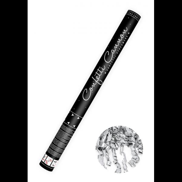 1 Konfettikanone XL - 60cm - Metallic - Luftschlangen - Silber