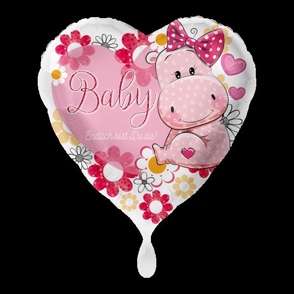 1 Ballon - Baby Nilpferd Mädchen