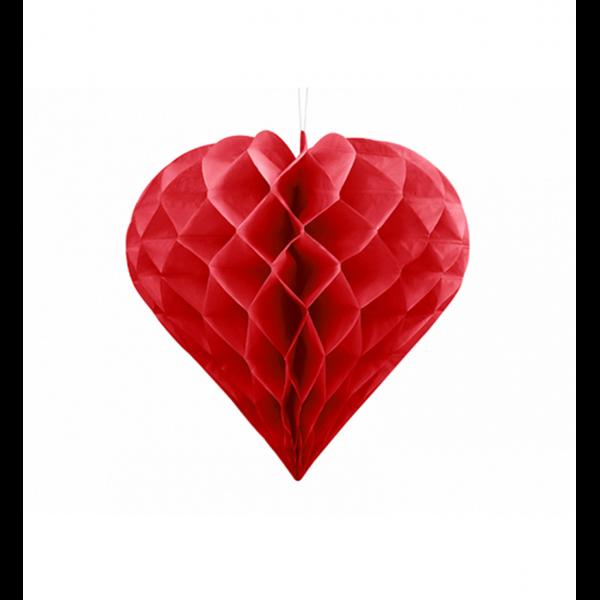 1 Wabenball XL - Ø 20cm - Herz - Rot