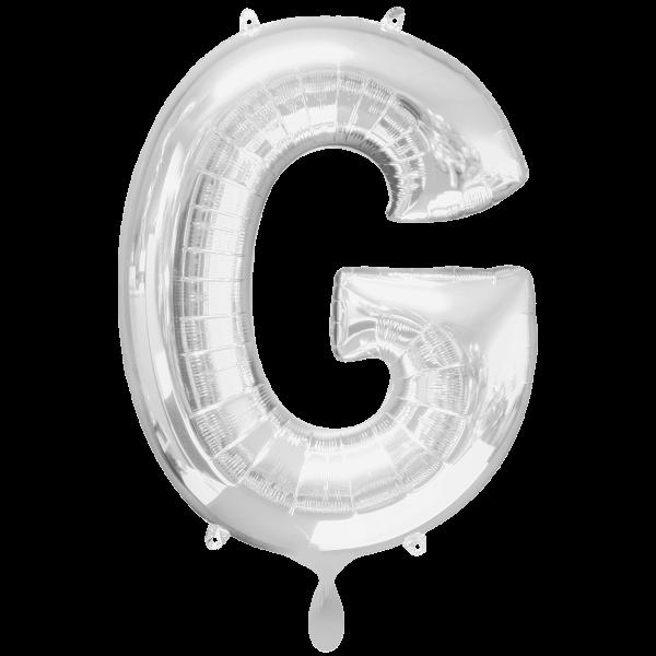 1 Ballon XXL - Buchstabe G - Silber