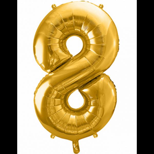 1 Ballon XXL - Zahl 8 - Gold