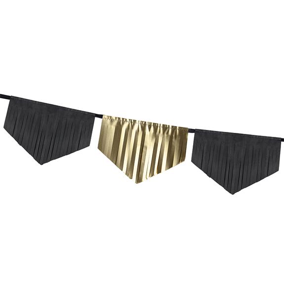 1 Glittergirlande - 3m - Gold & Schwarz