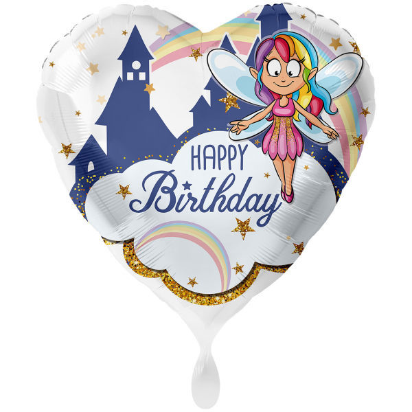1 Ballon XXL - Fee Glitzer Happy Birthday