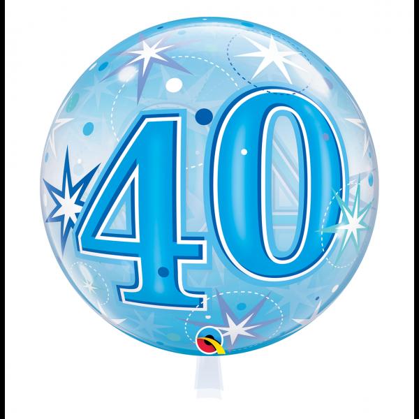 1 Bubble Ballon - 40 Blue Starburst Sparkle