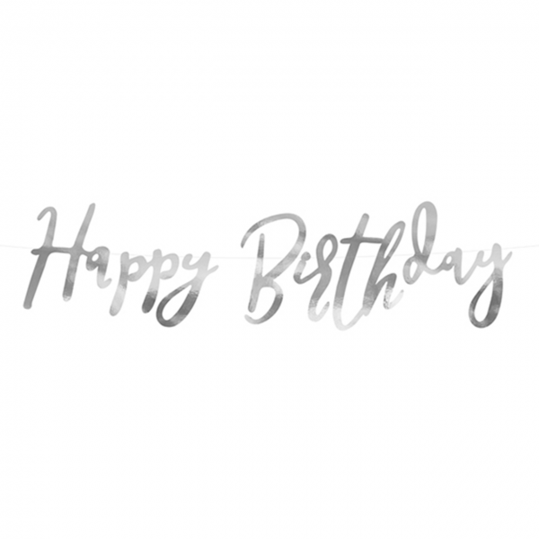1 Bannergirlande - Happy Birthday - Silber