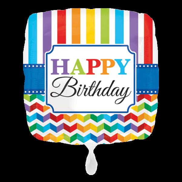 1 Ballon - HBD Bright Stripe & Chevron