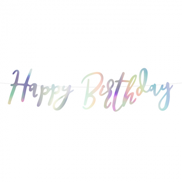 1 Bannergirlande - Happy Birthday - Iridescent