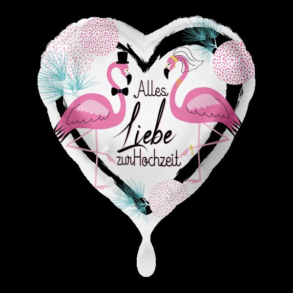 1 Ballon - Hochzeit Flamingos