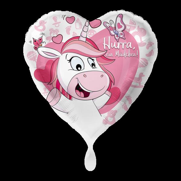 1 Ballon - Einhorn Hurra ein Mädchen