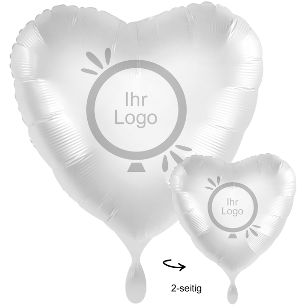 1 Werbeballon XXL - Herz, Ø 71cm, 2-Seitig - Satin - Weiß