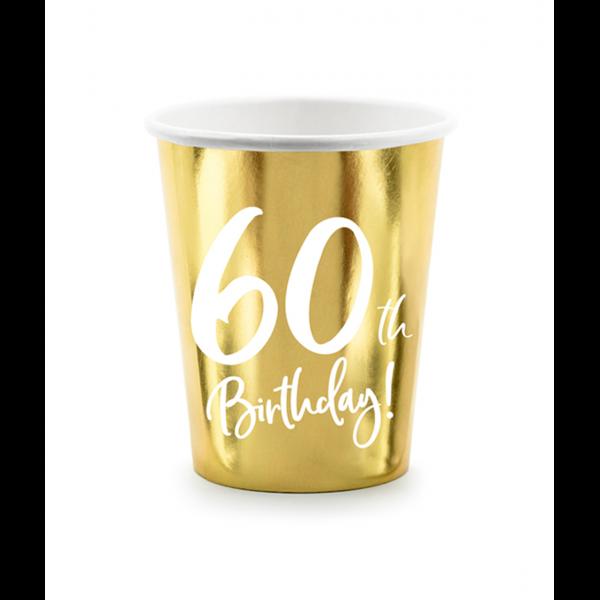 6 Pappbecher Trend - 220ml - 60th Birthday
