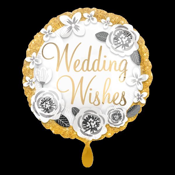 1 Ballon - Wedding Wishes Gold & Silver
