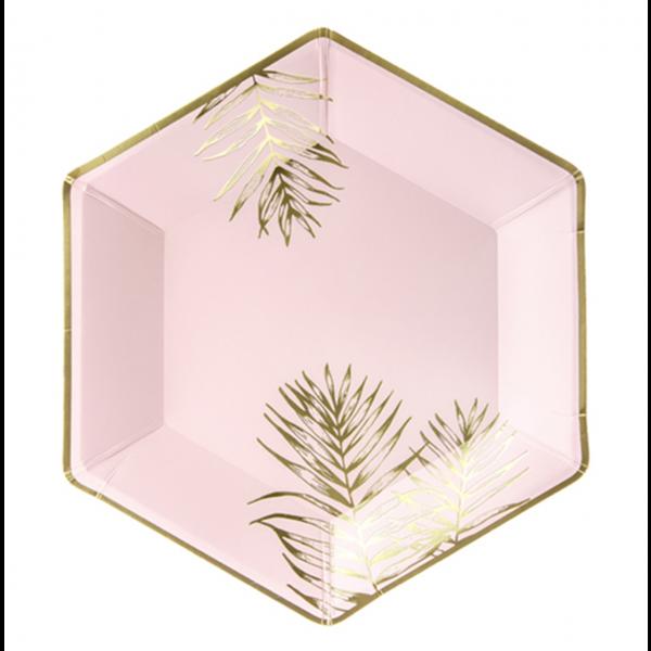 6 Pappteller Trend - Ø 23cm - Rosa Palmenblätter