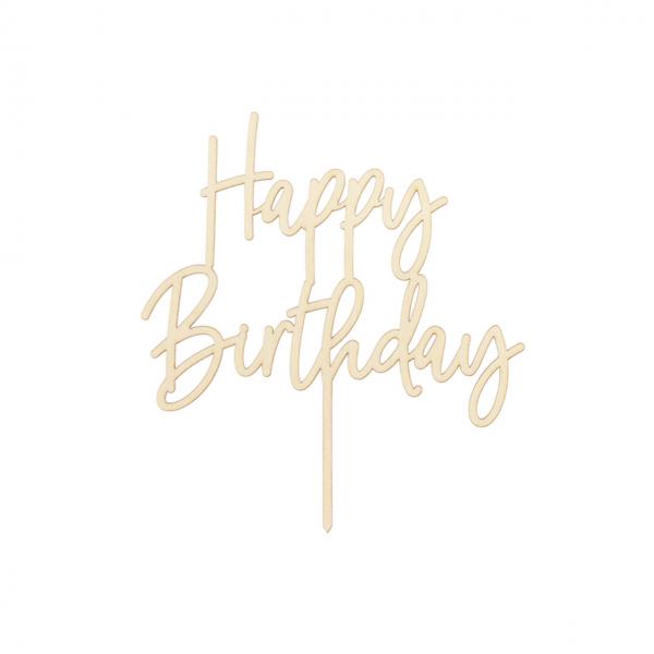 1 Cake Topper - Holz - Happy Birthday