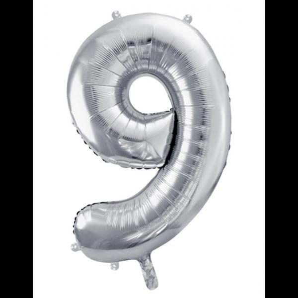 1 Ballon XXL - Zahl 9 - Silber