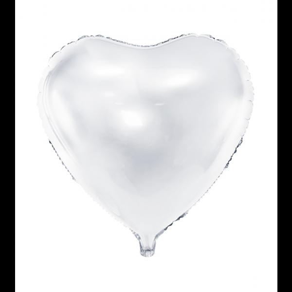 1 Ballon - Herz - Weiß