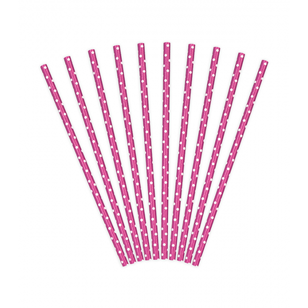10 Papierstrohhalme - Dots - Pink