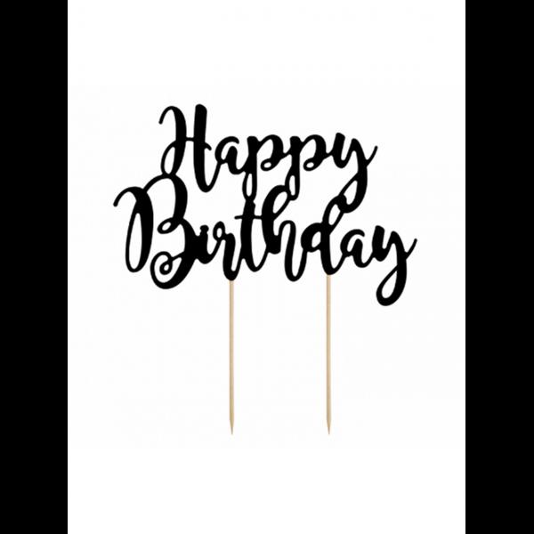 1 Cake Topper - Happy Birthday - Schwarz