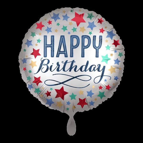1 Ballon - Birthday Satin with Stars