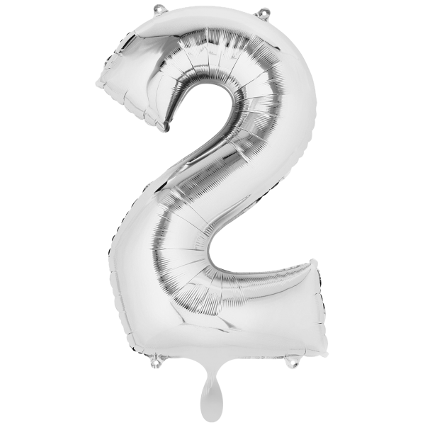 1 Ballon XXL - Zahl 2 - Silber