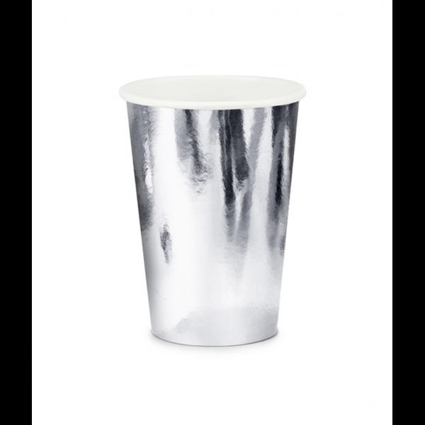 6 Pappbecher Trend - 220ml - Silber