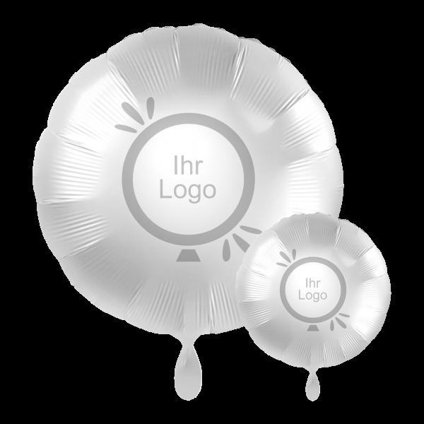 1 Werbeballon - Rund, Ø 43cm, 2-Seitig - Satin - Weiß