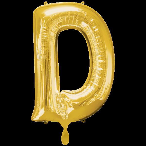 1 Ballon XXL - Buchstabe D - Gold