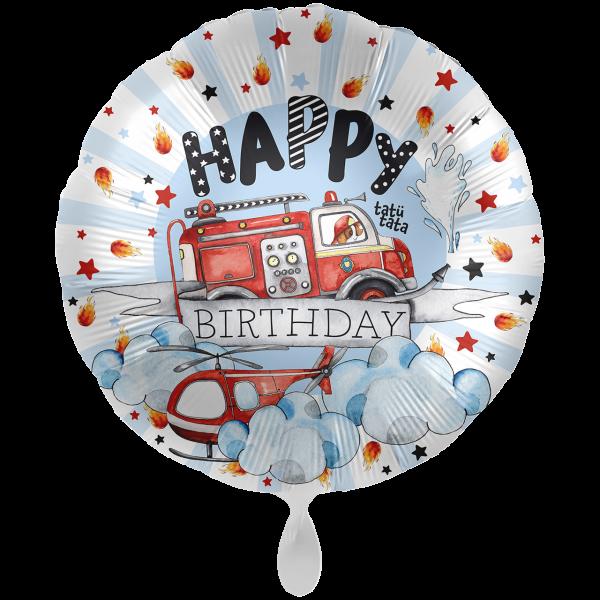 1 Ballon XXL - Happy Fire Engine - Birthday