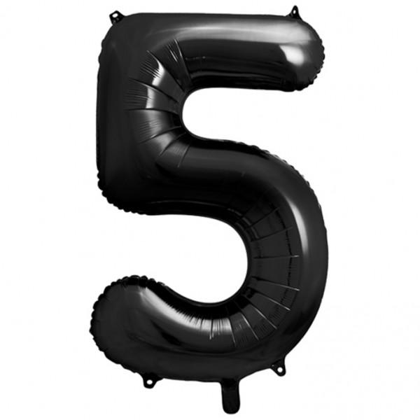 1 Ballon XXL - Zahl 5 - Schwarz