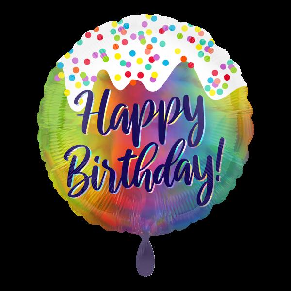 1 Ballon - Iridescent Birthday Frosted Confetti