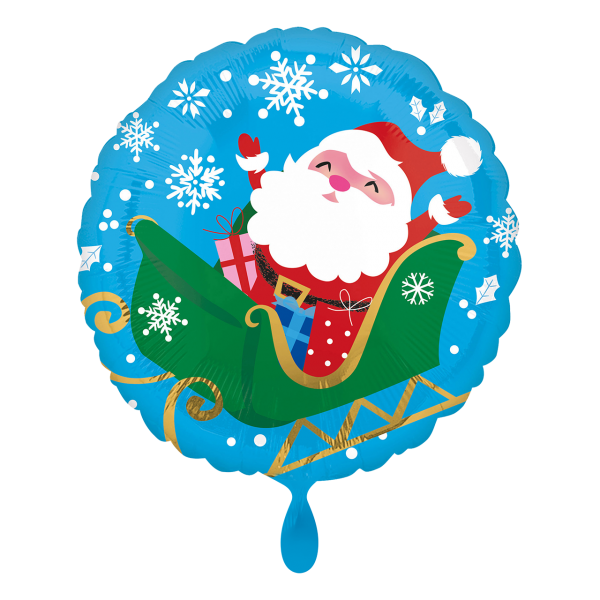 1 Ballon - Happy Santa in Sleigh