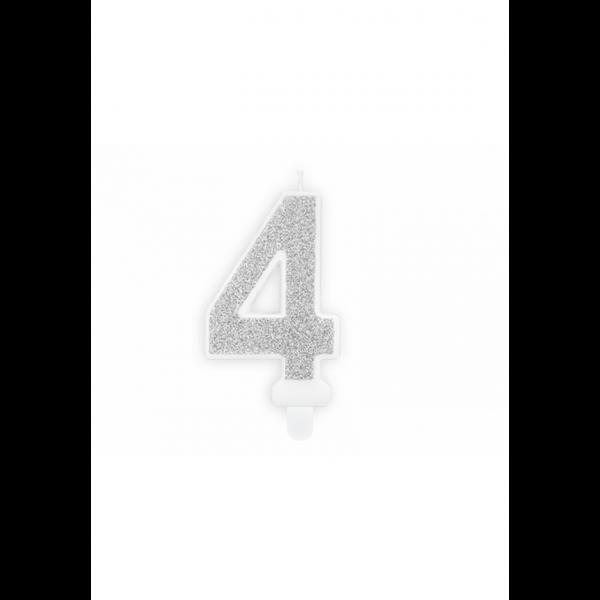 1 Kuchenkerze - Zahl 4 - Silber