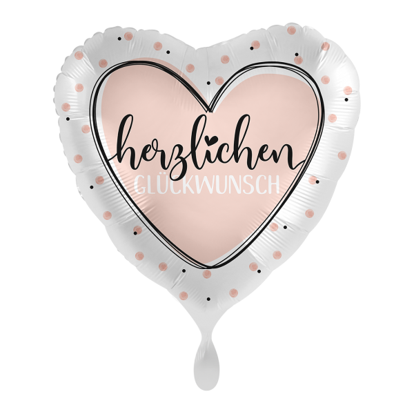 1 Ballon - Glossy Heart Herzlichen Glückwunsch