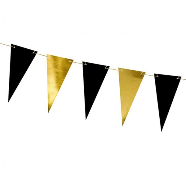 1 Wimpelgirlande - 2,15m - Gold & Schwarz