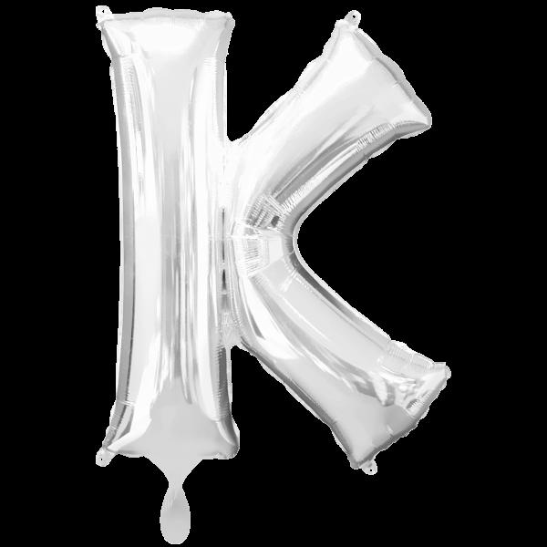 1 Ballon XXL - Buchstabe K - Silber