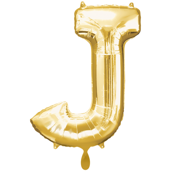 1 Ballon XXL - Buchstabe J - Gold