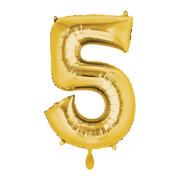 1 Ballon XL - Zahl 5 - Gold