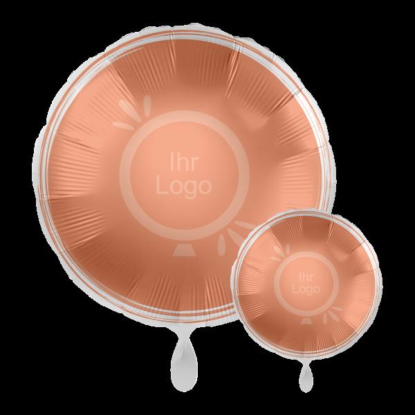 1 Werbeballon - Rund, Ø 43cm, 2-Seitig - Satin - Rosegold