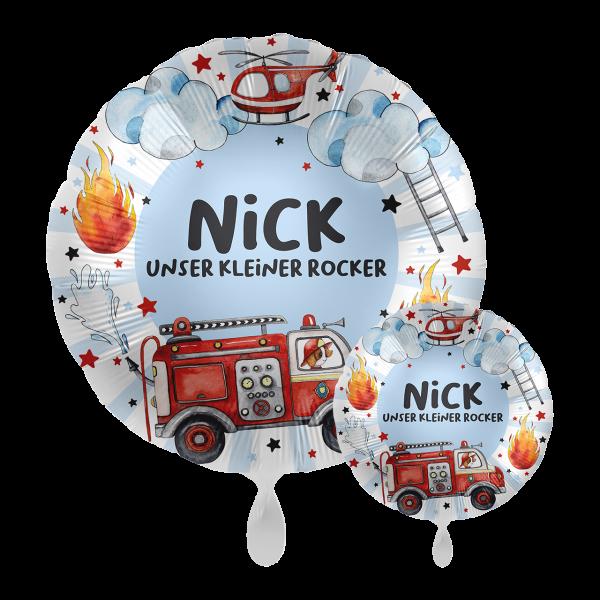 1 Ballon mit Text - Happy Fire Engine