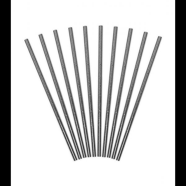 10 Papierstrohhalme - Silber