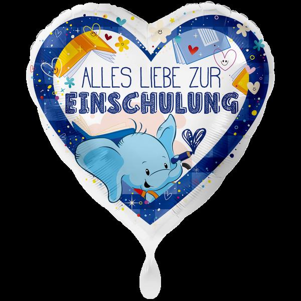 1 Ballon XXL - Alles Liebe zur Einschulung Blau