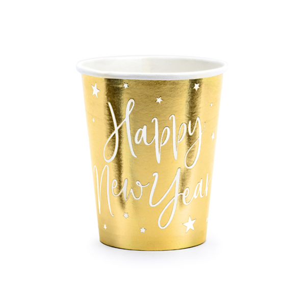 6 Pappbecher Trend - 220ml - Happy New Year