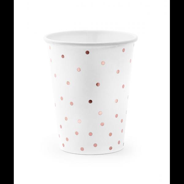 6 Pappbecher Trend - 260ml - Dots Weiß