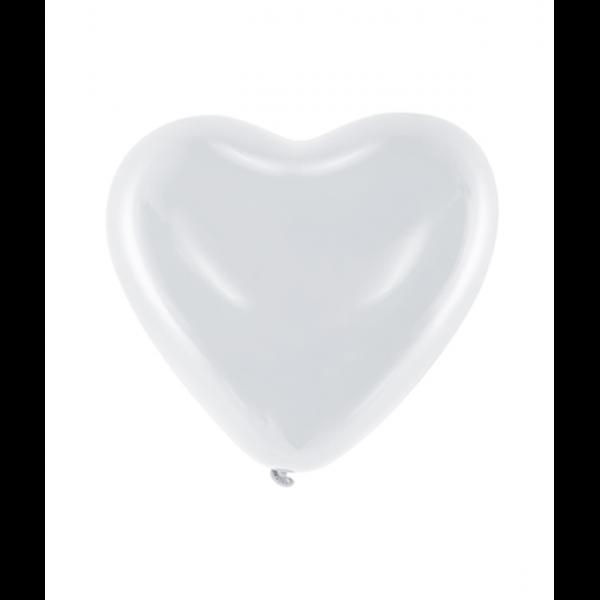 100 Herzballons Decor - Ø 25cm - Weiß