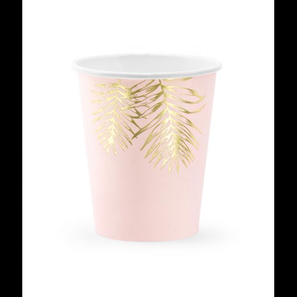 6 Pappbecher Trend - 220ml - Rosa Palmenblätter