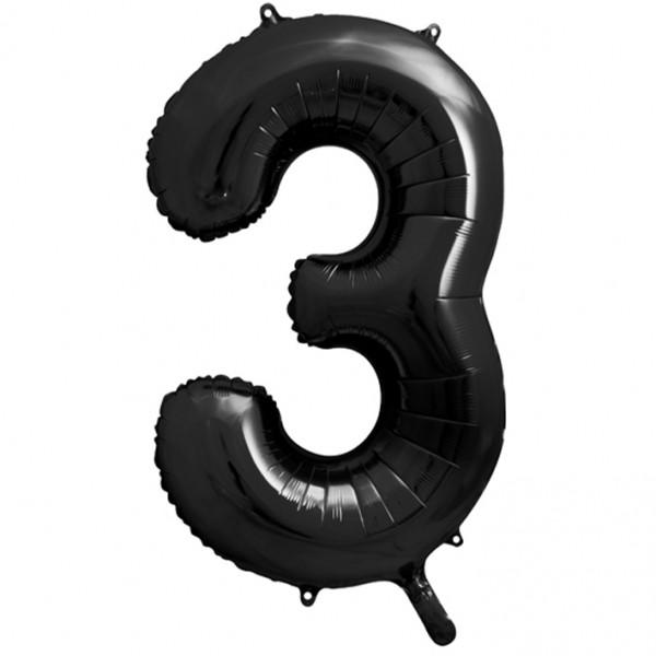 1 Ballon XXL - Zahl 3 - Schwarz
